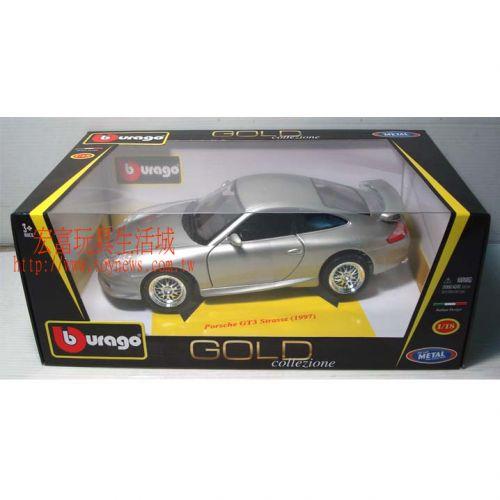 Burago模型車 1/18 GOLD Porsche GT3 Strasse (1997)
