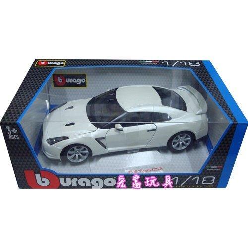 Burago模型車 1/18 明星 2009 NISSAN GT-R 白