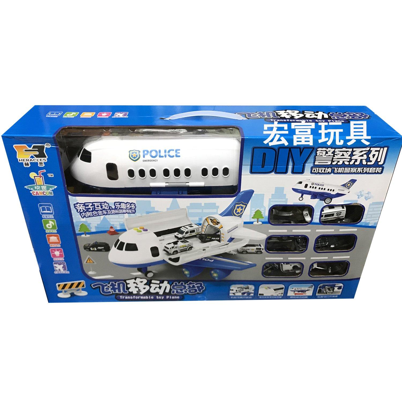 瑪琍歐 飛機移動總部 警察系列 藍 HS1810 【附6台車子】