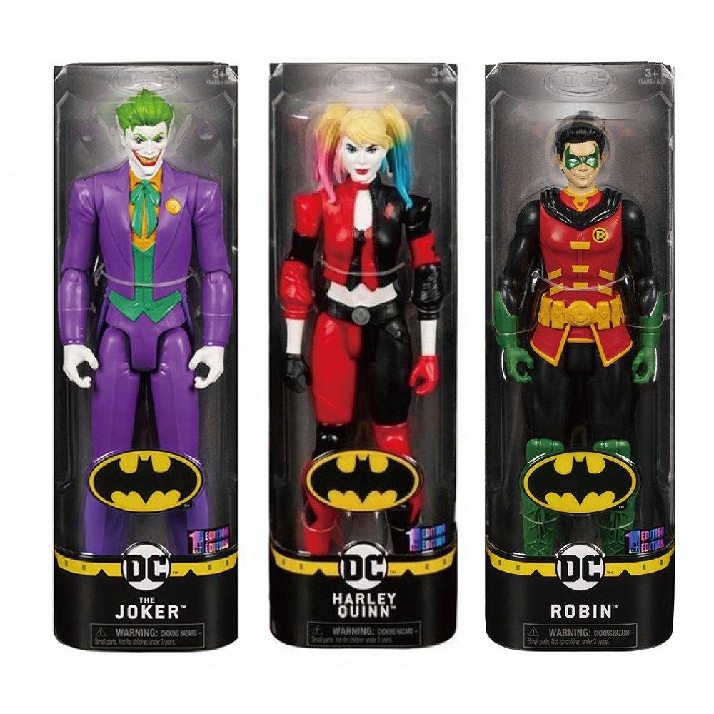 Batman 12吋蝙蝠俠反派可動人偶 THE JOKER+HARLEY QUINN+ROBIN